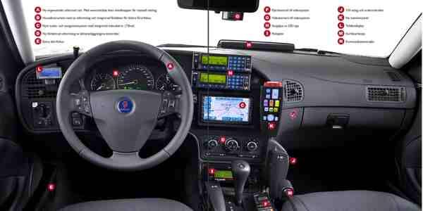 Saab 9-5 politie, cockpit.