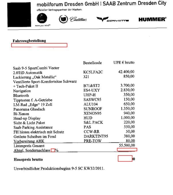 Bestellung Saab 9-5, 27.06.11