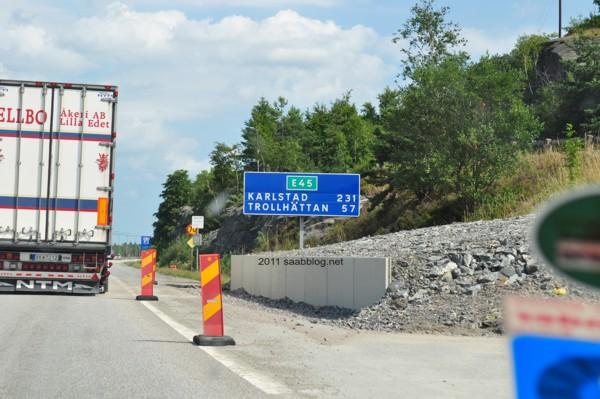 """Bouwplaats """"Bana Väg i Väst"""", E45 naar Trollhättan"""