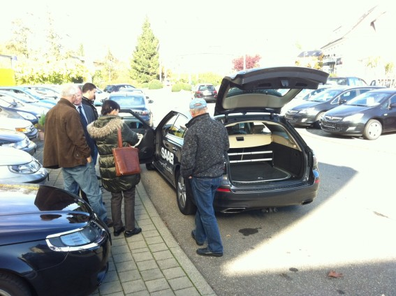 The new Saab 9-5 sports car in the Saab center Hegau Bodensee