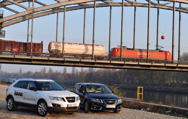 Saab 9-4x och Saab 9-5 Sportkombi Frankfurt Osthafen