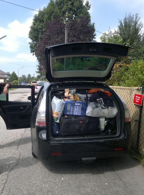 Ab in den Urlaub: Saab 9-3 Sportkombi Gepäck für 4 Personen. Foto von Christian