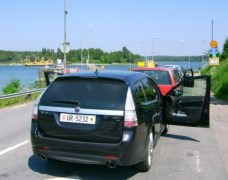 Saab 9-3 en el ferry. Foto de Ivo.