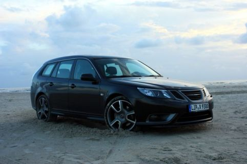 Saab Turbo X na praia. Foto de Mathias.