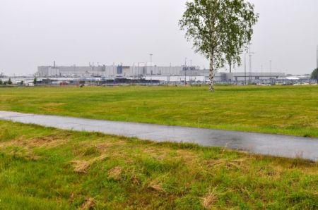 Saab Werk im Regen