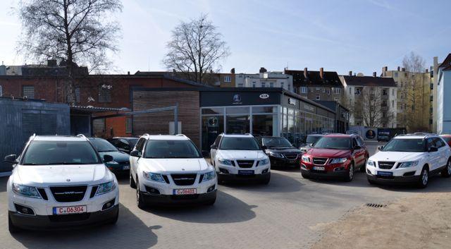 Saab Parade. 5 x Saab 9-4x a Kiel.