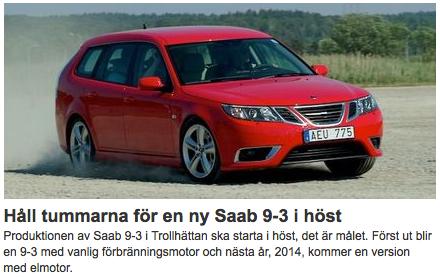 Auto-Motor-Sport Schweden: Daumen druecken fuer einen neuen Saab 9-3 im Herbst!