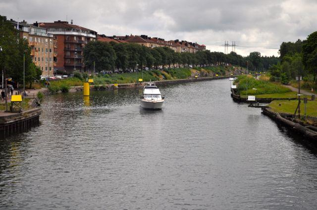 Goeta Kanal in Trollhattan, Blick in Richtung Saab Museum