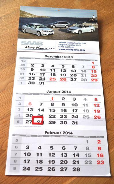 Calendário de Peças Saab 2014