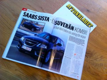 Terno esportivo Saab no Aftonbladet