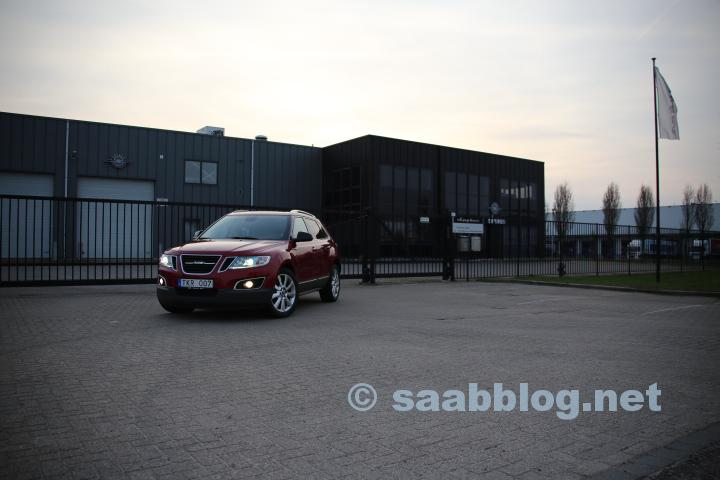 One of the two crystal red 9-4X Aero's ever produced in front of the Spyker facilities in Zeewolde, The Netherlands.