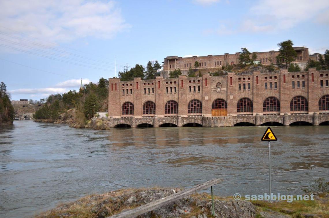 Altes Kraftwerk in Trollhattan, Wasserkraft ist gruene Energie.