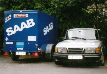 3. SAAB 900 Turbo 16S met aanhanger