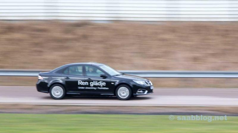 The SAAB 9-3EV on the factory test track