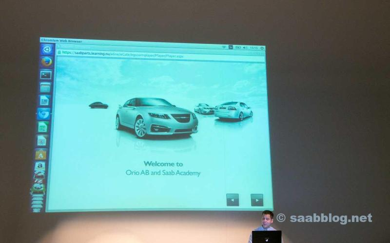 Orio's Pontus Lundin presenting SAAB Academy