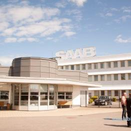 The SAAB factory main gate.