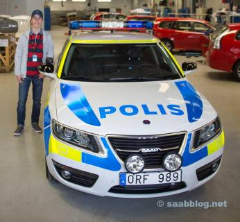One of the two 9-5NGs built for the Swedish police by ANA Specialbilar