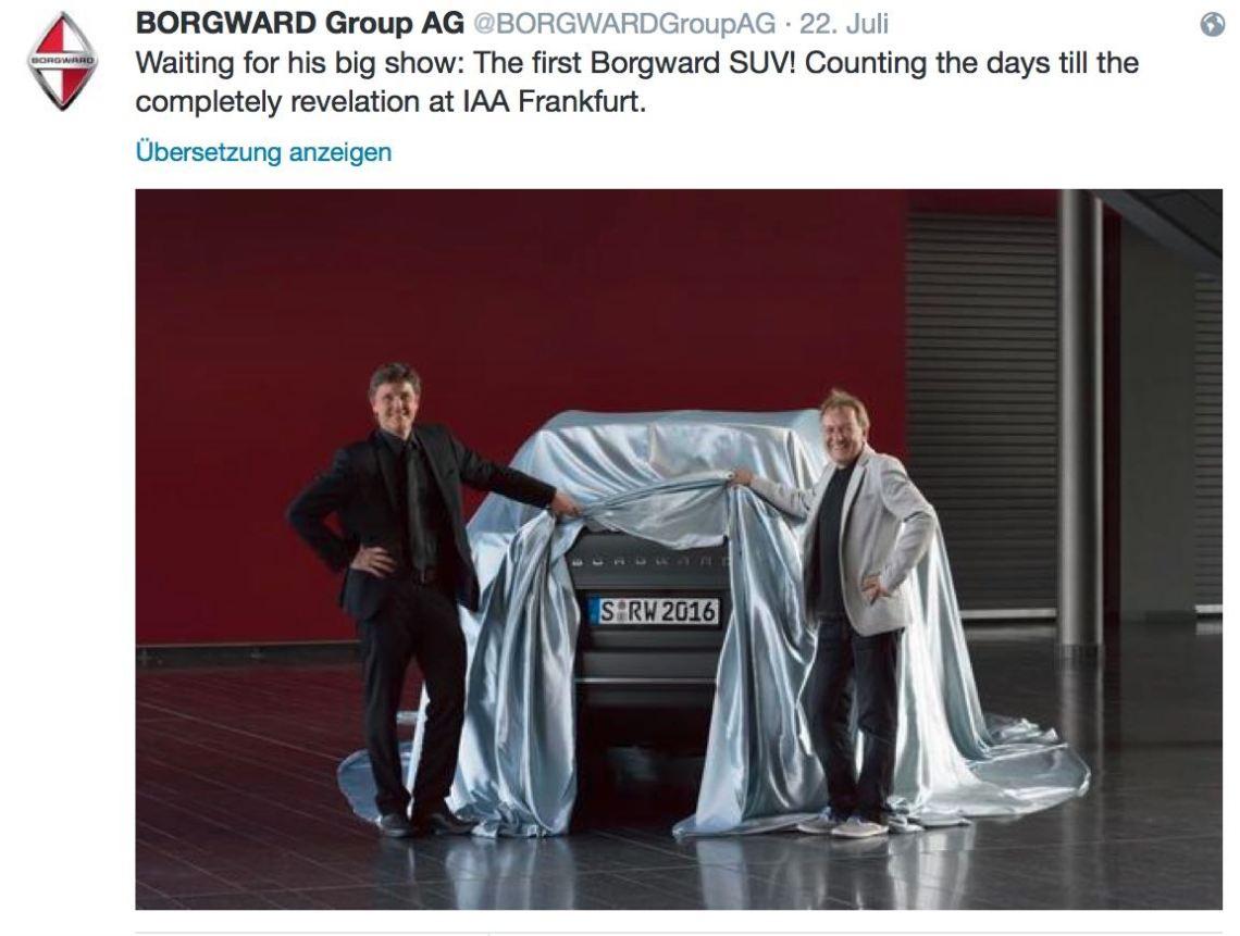 Borgward SUV - eerste kijk via Twitter