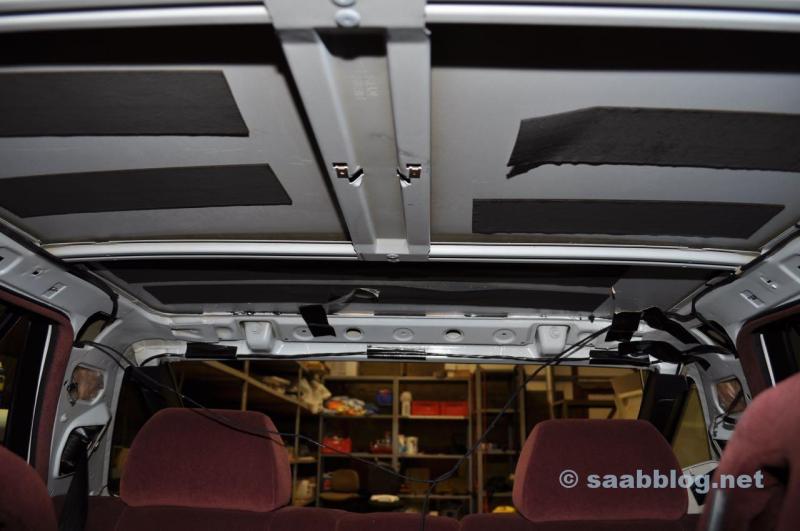 Saab 9000 CC demonterad headliner