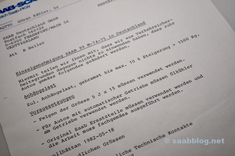 Saab Freigabe erhoehte Anhaengelast