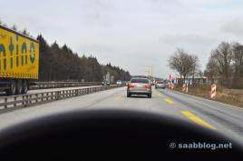 Saab 9-5 2.3t. On the way to Hesse.