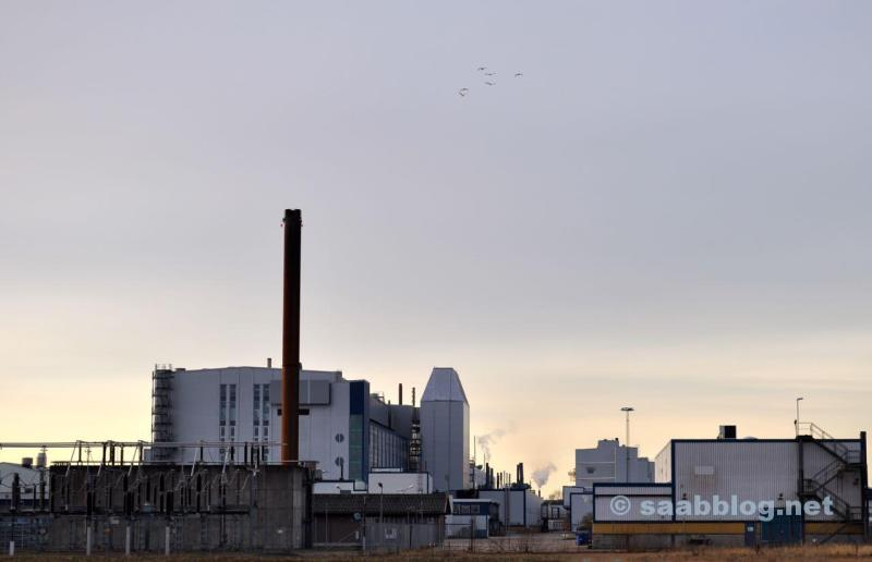 Saab Presswerk in der Morgensonne