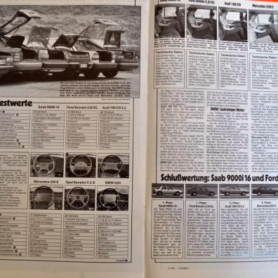 Vergleichstest Autobild Mai 86. Saab ist vorne.
