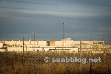 The former Saab factory in the winter sun ...