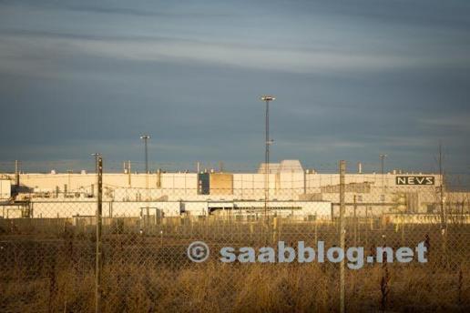 L'ancienne usine de Saab sous le soleil d'hiver ...