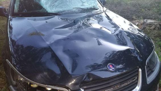 Saab 9-5-motorkap na ongeval