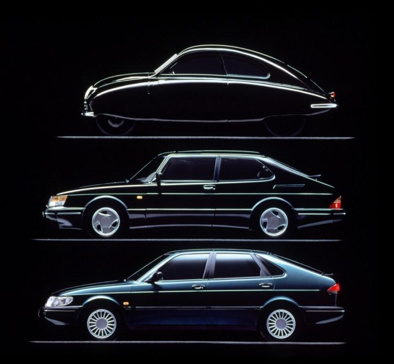 Saab 1947 - 1993. Die Designlinie folgt immer noch der Form eines Flugzeug-Flügels