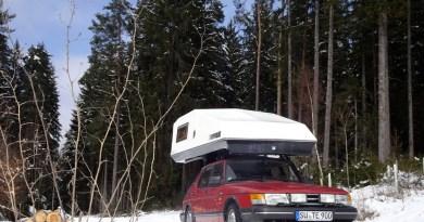 Camping en invierno? No hay problema con un Saab. Foto de Thorsten.