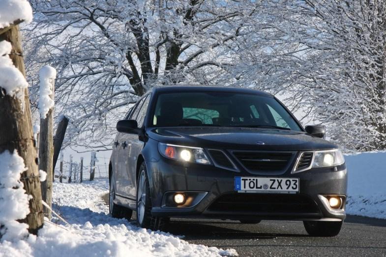 Outro TX. Saab quatro rodas motrizes no inverno. Imagem de Wolfgang