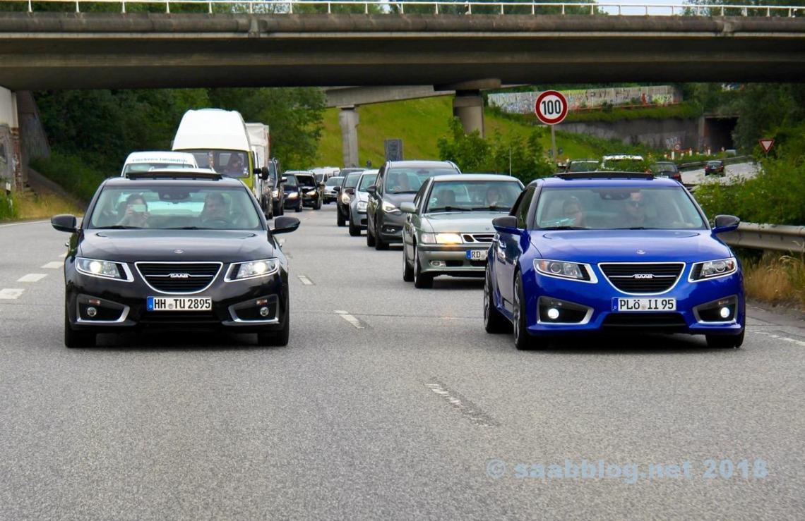 Все Saab? 9-5 NG на городской автостраде в Киле