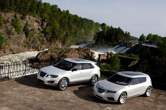 Saab 9-4X BioHybrid och 9-X BioHybrid Concept vid vattenfallet i Trollhättan
