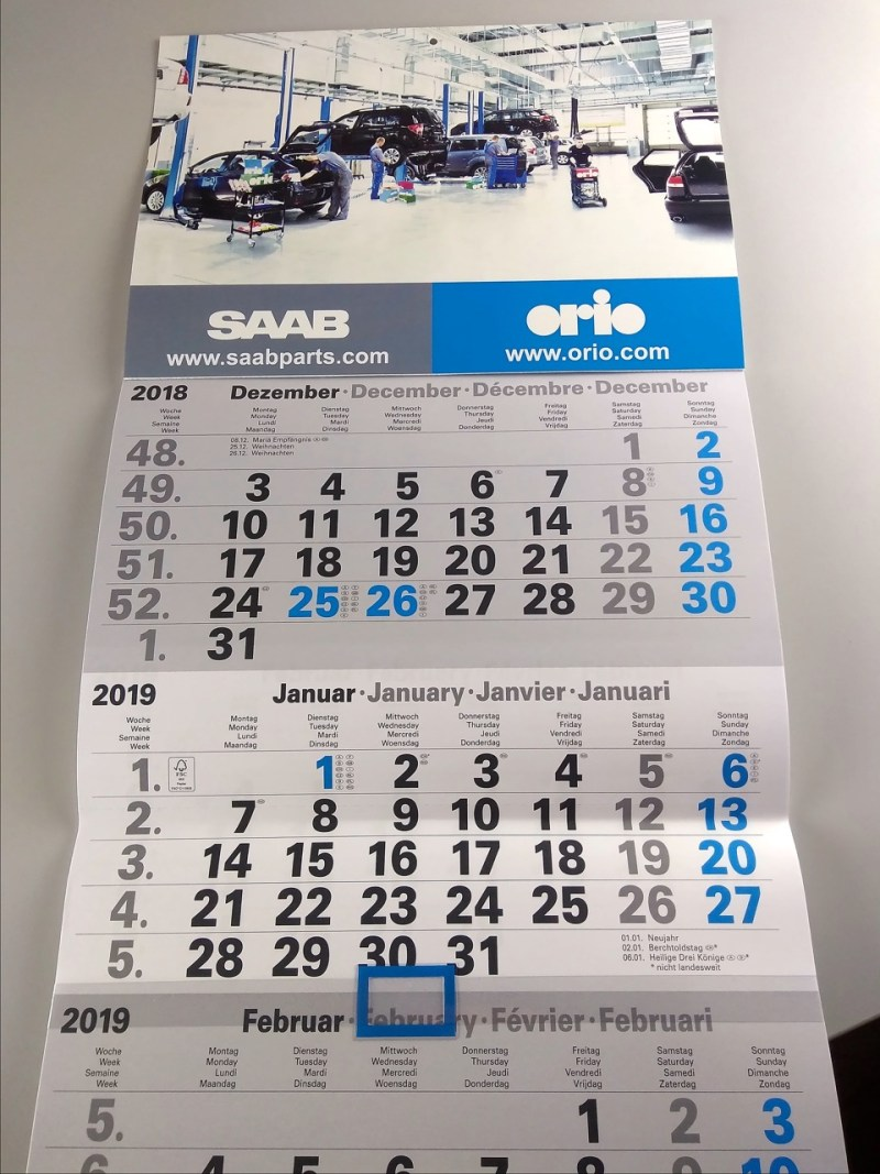 Saab - Pianificatore mensile Orio 2019