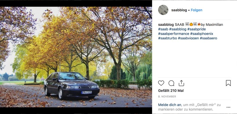 Saab Instagram Bild November 2018