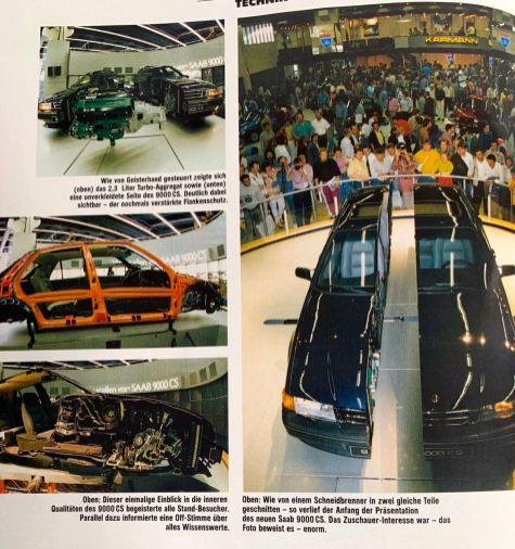 1991 celebrates the 9000 CS in Frankfurt premiere. The Saab Euro magazine shows the spectacular cutting model