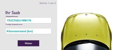 Het digitale aanbod is gemakkelijk te gebruiken. Saab VIN plus kilometerstand invoeren.