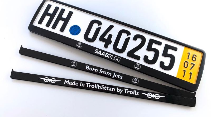 Our Saab license plate holders. We change the design.