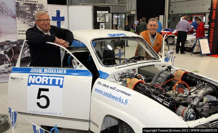 Three champions. Juhani Markkanen and Simo Lampinen and the championship car of 1975 - A Saab 96 rally, AEU-502.