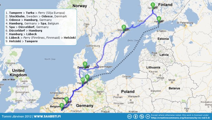 The complete trip. A little over 2600 kilometers on the road + the sea voyages.