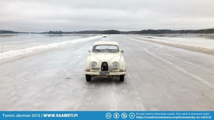 Saab 96 1964 on ice road.