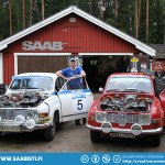 Rally Saabs in Finnish and Swedish colors.