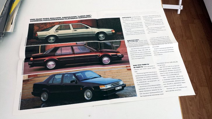 Saab 1990 - Puhtaat autot. A3!, 16 sivua. 6 €.