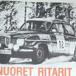 "Antero Laine with the ""Nortti"" (North State) Rally Team Saab 96."