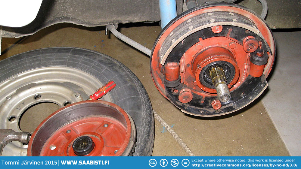 Brake job for the 1964 Saab two-stroke