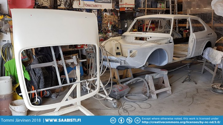 Garage filling up with Saab 99 Turbo parts in various stages of paint prep.