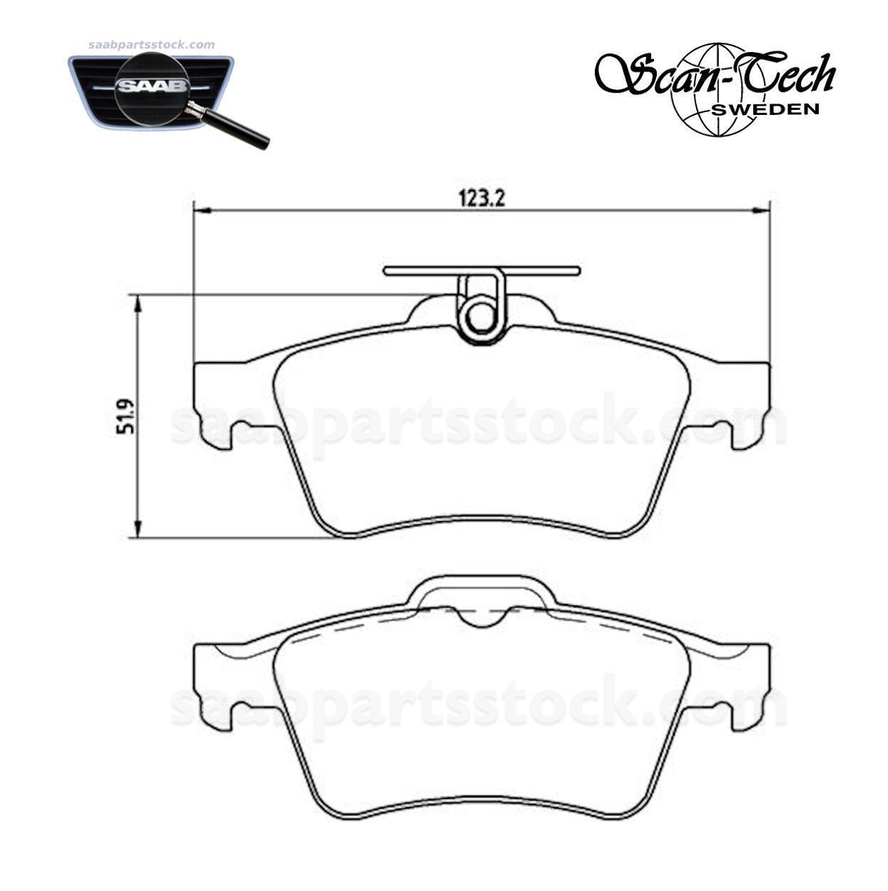 Brake pad kit, Rear SAAB, Volvo, Opel, Ford, Fiat, Renault