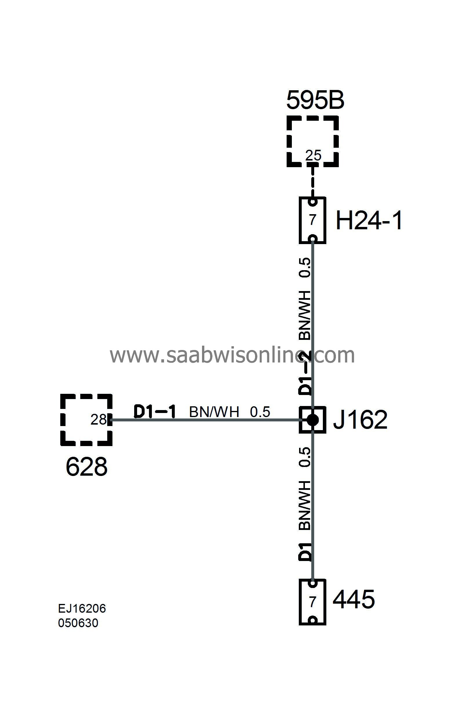 Crimp connection J162, instrument wiring harness